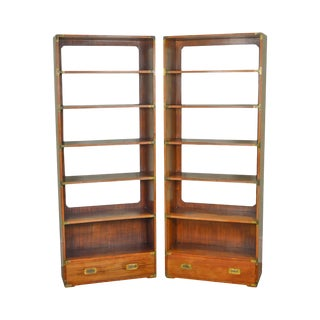 Campaign Style Vintage Walnut Open Bookcases - A Pair