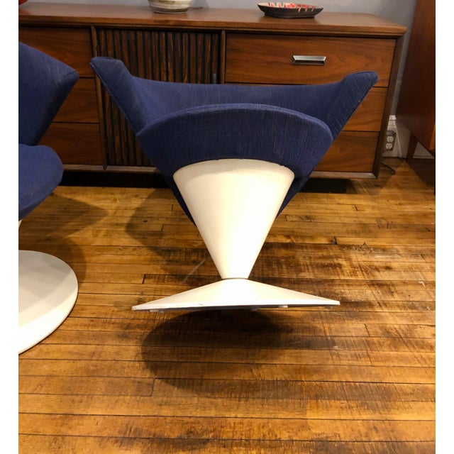 Navy Blue Mid Century Modern Adrian Pearsall Cone Chairs for Craft Associates - a Pair For Sale - Image 8 of 11