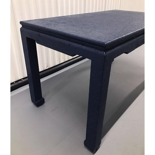 Lacquer 1970s Raffia-Wrapped Blue Lacquered Desk or Console For Sale - Image 7 of 13