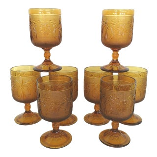 Tiara Indiana Sandwich Glass Amber Set of 8 Stemware Water Wine Goblets For Sale