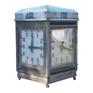 Antique Bank Four-Sided Outside Clock
