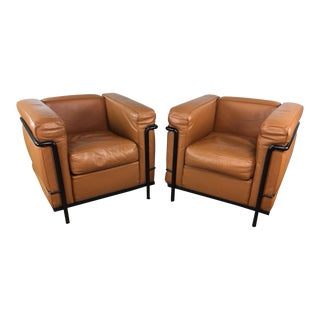 Cassina Le Corbusier Lc2 Club Chairs - a Pair