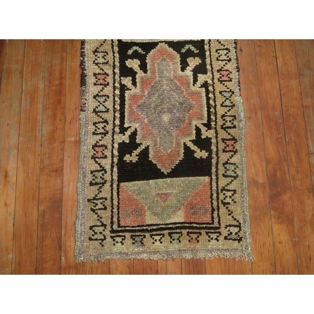Abstract Mini Brown Soft Pink Vintage Turkish Rug For Sale - Image 3 of 4