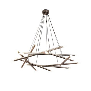 "Blueprint Lighting Contemporary ""Polaris"" Chandelier in Brushed Nickel For Sale"