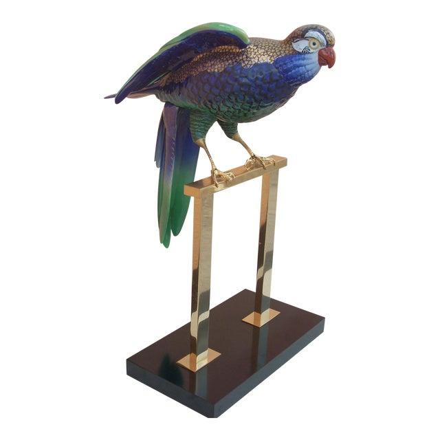 Green & Brass Parrot Sculpture - Image 1 of 7