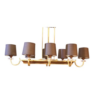Maison Arlus French Lucite, Brass & Black Chandelier For Sale
