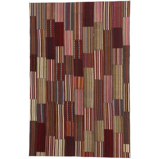 Modern Vintage Turkish Jajim Kilim Flat-Weave Rug With Colorful Stripes - 7′5″ × 11′5″ For Sale - Image 4 of 5