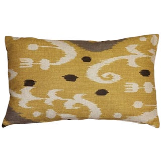 Indah Ikat Yellow Lumbar Pillow 12x20 Inch For Sale