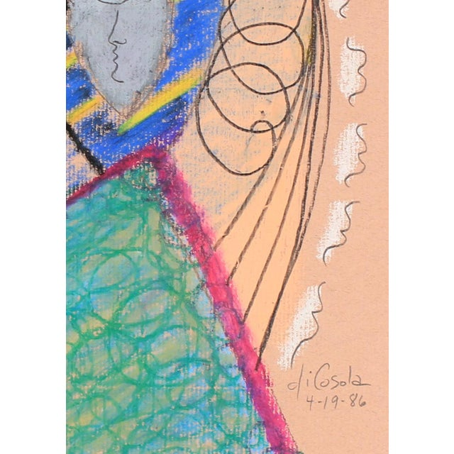 This 1986 oil pastel and graphite abstracted work on peach paper is by Abstract Surrealist San Francisco artist Michael di...