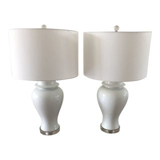 Currey & Co. Shiroi Table Lamps With Shades - a Pair For Sale