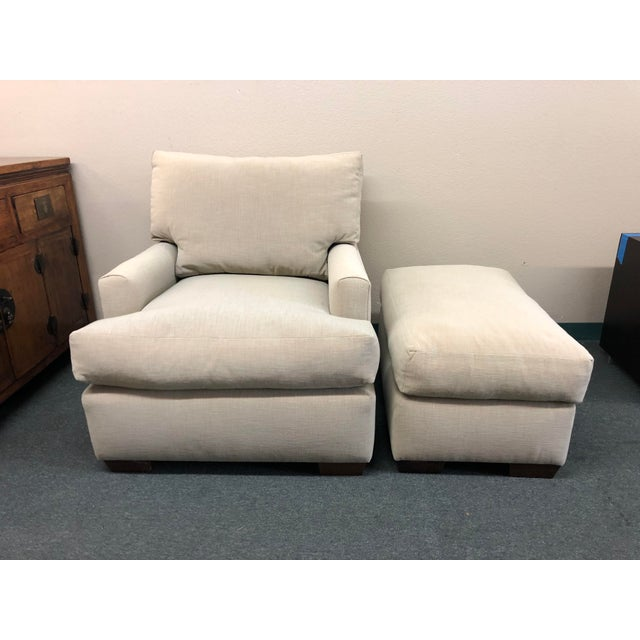 Fabric Contemporary Custom Armchair & Ottoman For Sale - Image 7 of 7