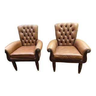 Tufted Brown Chairs - a Pair For Sale