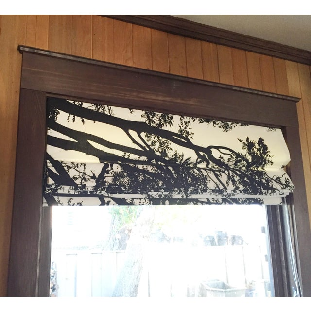 Graphic Black & White Flat Roman Shade, in Marimekko Tree Tuuli Cotton Fabric - Image 5 of 6