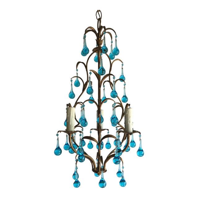 Italian Vintage Gilt Iron Chandelier With Aqua Drops For Sale
