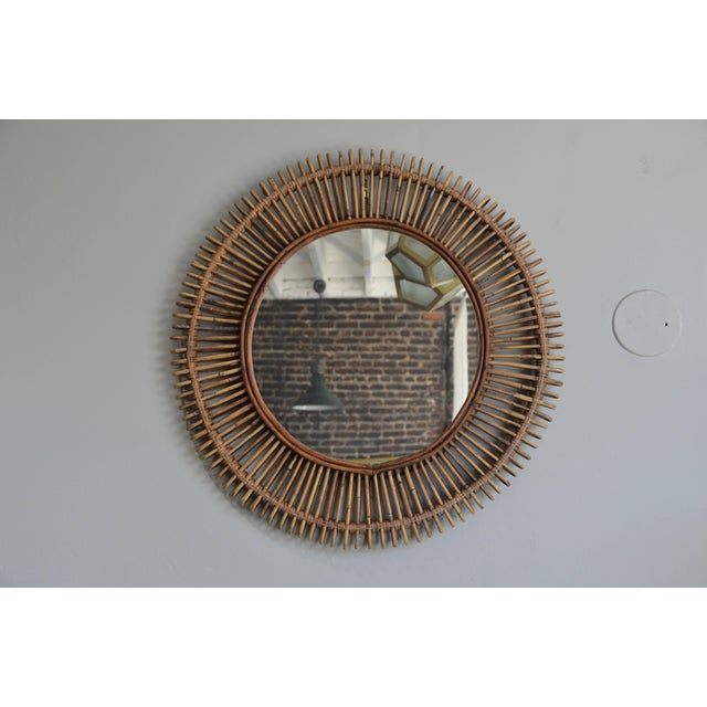 2010s Oculus' Round Rattan Mirror by Design Frères For Sale - Image 5 of 5