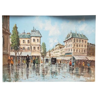 20th Century Italian Town Square Oil Painting on Canvas Board by Alfred Torricini For Sale
