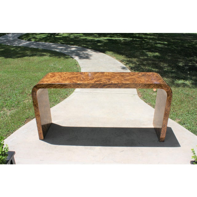 1970s Faux Tortoise Waterfall Console Table in the Style of Karl Springer For Sale - Image 5 of 12