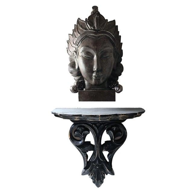 2000 - 2009 Carved Ebonized Decorative Wood Wall Shelf and Buddah Head Bust - 2 Piece Set For Sale - Image 5 of 5