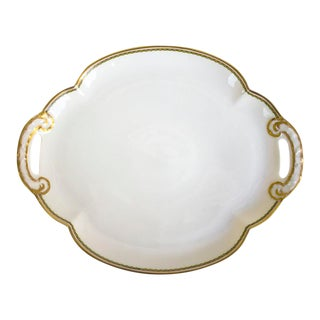 1960s Theodore Haviland Limoges France Porcelain Handled Tray For Sale