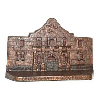 1930s Vintage Alamo Copper-Flashed Iron San Antonio Bookend Doorstop For Sale