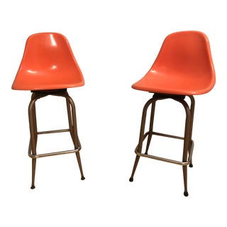 1960s Mid-Century Modern Orange Swivel Stools - a Pair For Sale