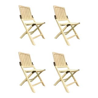 Transitional Cream Folding Style Set of Four Chairs For Sale