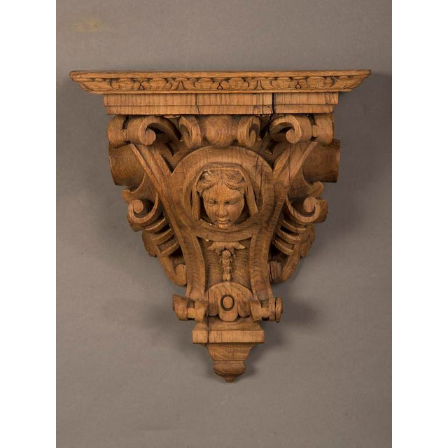 French 19th Century French Henri II Style Portrait of Young Lady Oak Wall Bracket For Sale - Image 3 of 5