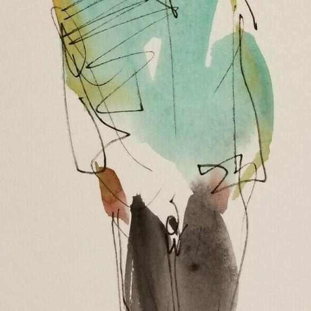 Contemporary Jose Trujillo Original Abstract Watercolor Painting of Figure Walking For Sale - Image 3 of 4