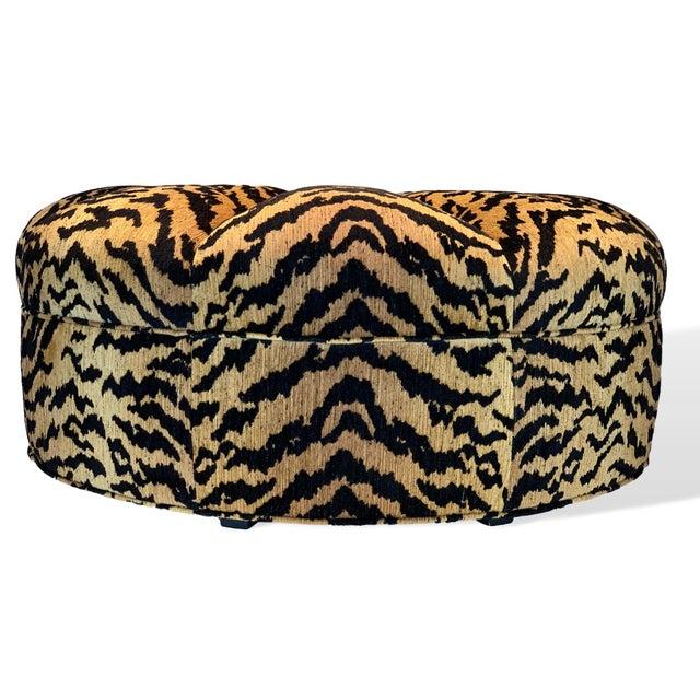 Contemporary Italian Silky Tiger Woven Heavy Chenille Ottoman For Sale - Image 3 of 10