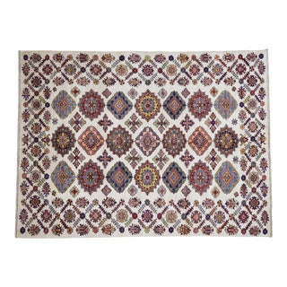 Caucasian Design Kazak Wool Hand-Knotted Rug- 6′1″ × 8′ For Sale