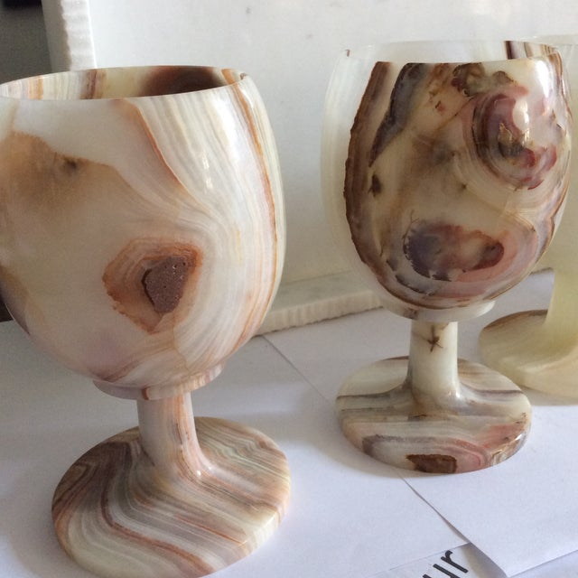 Carved Onyx Wine Glass Goblets - Set of 6 - Image 5 of 8
