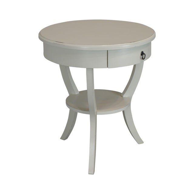 Round White One Drawer Side Table For Sale - Image 13 of 13
