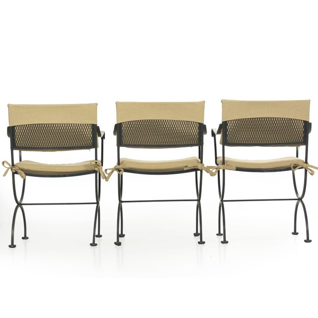 Set of Six Salterini Style Black Iron Patio Dining Chairs, Mid 20th Century For Sale - Image 4 of 13
