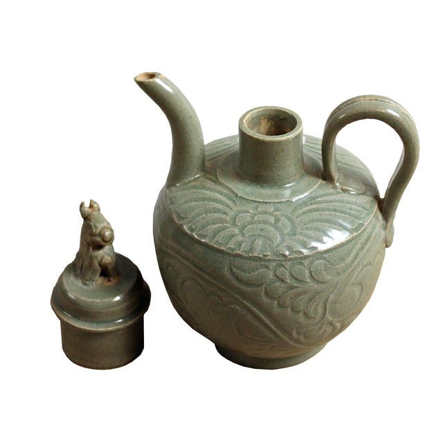 Chinese Handmade Ceramic Gray Green Floral Motif Jar For Sale In San Francisco - Image 6 of 8