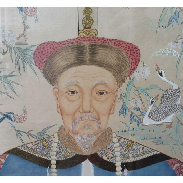 Hand Painted Chinese Ancestor Portrait Paintings - a Pair For Sale - Image 12 of 13