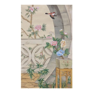 Emperor's Garden Hand Painted Chinoiserie Panel For Sale