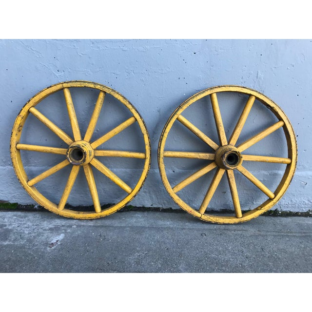 Folk Art Painted Wagon Wheels - a Pair For Sale - Image 4 of 7