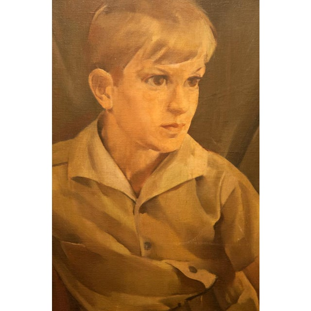 This large stately portrait by H. Abramson, 1930 depicts a portrait of a young boy. It reflects a time when formal...