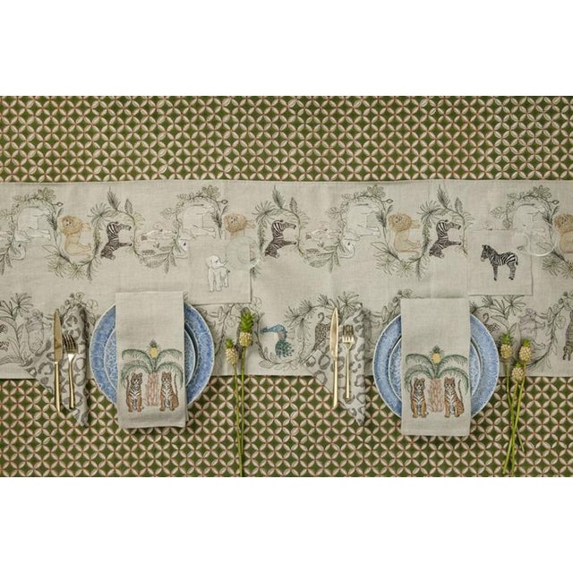 2010s French Ecru Linen Tigers With Pineapple Palm Tree Tea Towel For Sale - Image 4 of 6