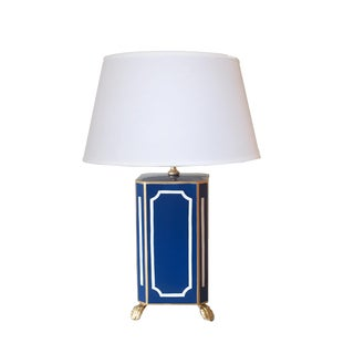 Devon in Navy Lamp With White Linen Shade For Sale