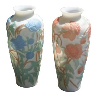 Vintage Phoenix Consolidated Glass Embossed Floral Vases - a Pair For Sale