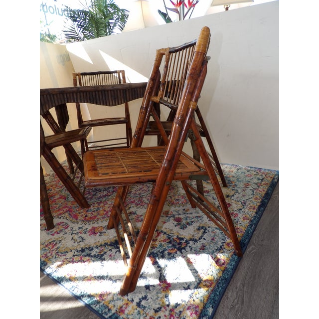 Florida Rattan and Bamboo Folding Game Table With Six Folding Chairs - 7 Pieces For Sale In West Palm - Image 6 of 9