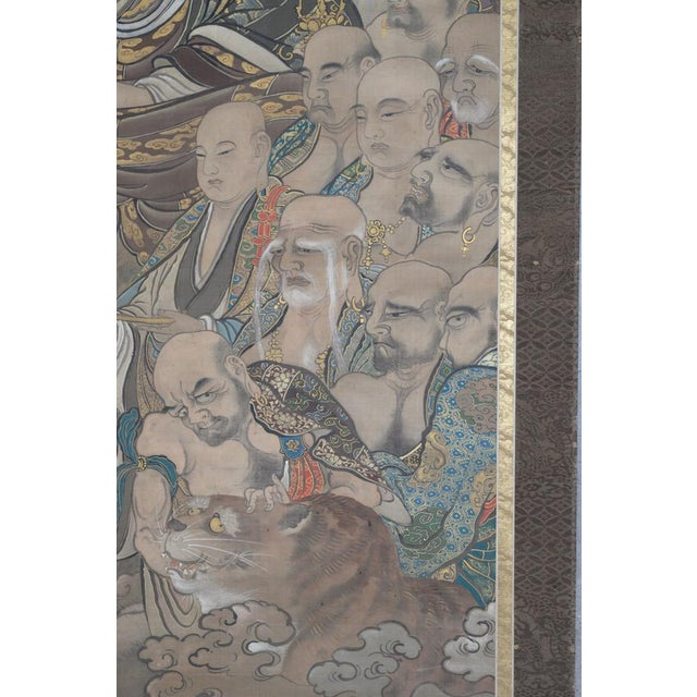 Antique Japanese Hanging Scroll With Buddha and His Disciples C.1910 For Sale - Image 4 of 12