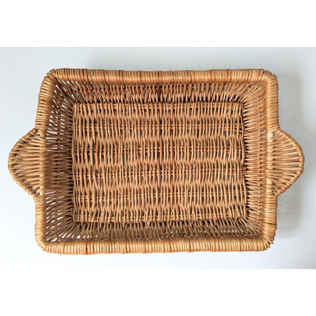 Vintage Boho Chic Wicker Tray Basket For Sale - Image 9 of 9
