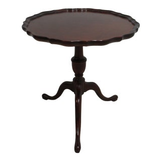 Vintage Custom Mahogany Scalloped Pie Crust Table For Sale