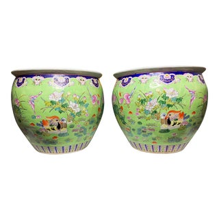 Early 20th Century Hand Painted Green Handpainted Cachepots-a Pair For Sale