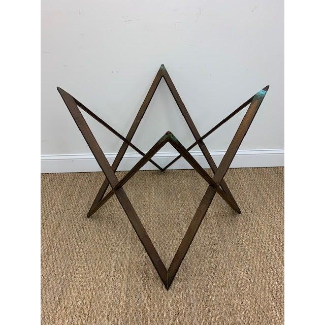Mid Century Bronze Interlocking X Table Base For Sale - Image 12 of 12