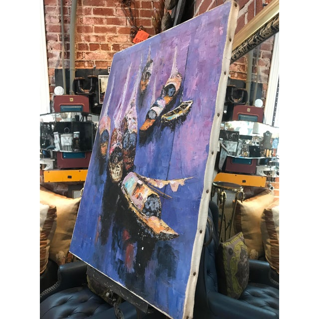 Expressionism 40s Exotic Impressionist Fishing Boat & Seascape Painting For Sale - Image 3 of 9