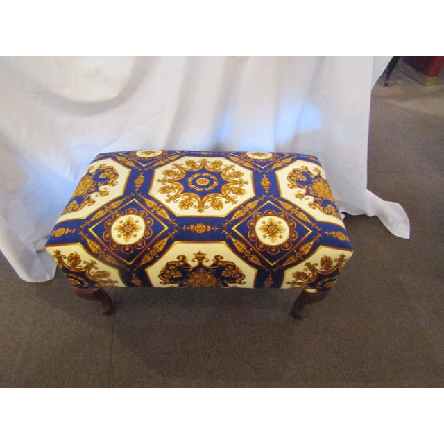 Gorgeous printed velour fabric covers this ottoman. The colors are bold and rich ! Very soft and unlike my other ottomans,...