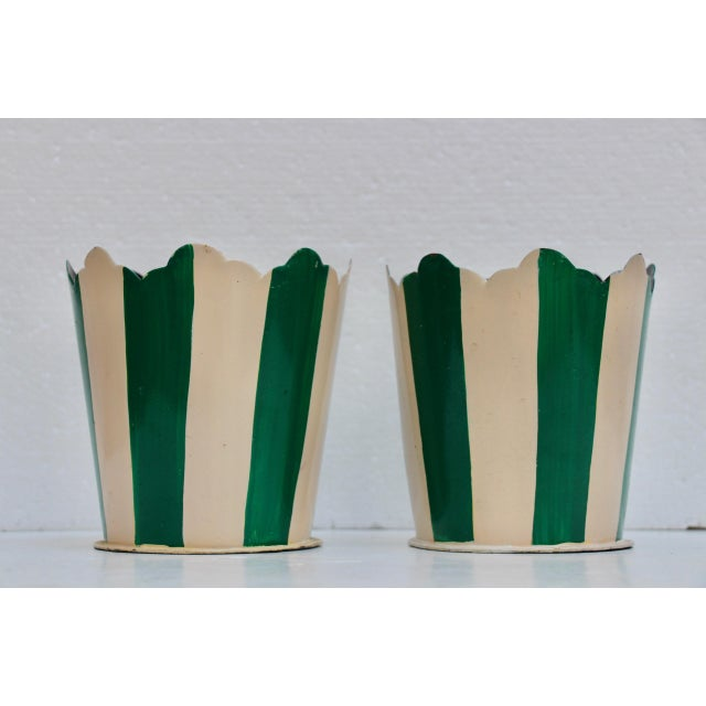 Green Striped Tole Planters - A Pair - Image 2 of 6
